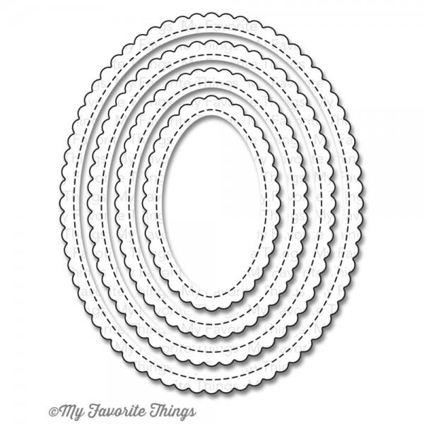 Dienamics Stanzform Ovale gewellt klein mit Nähnaht / Stitched Mini Scallop OVAL STAX MFT-805