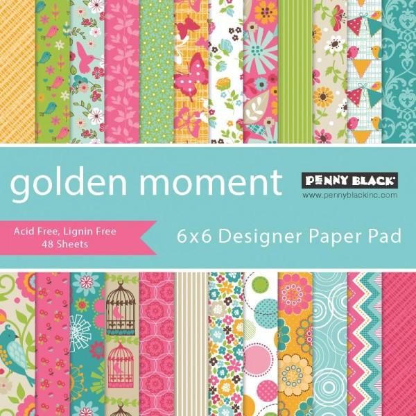 """Penny Black Paper Pad 6 """" x 6 """" Golden Moment PB80-015"""