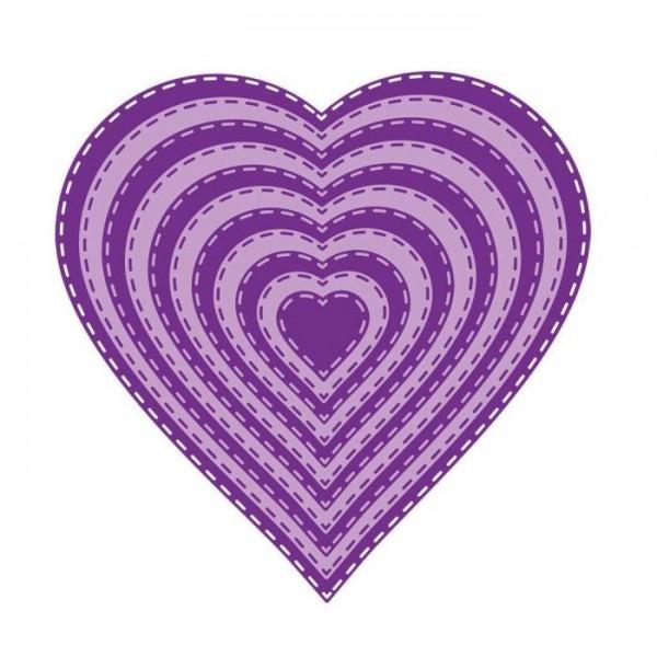 Gemini Stanzformen Herz mit Nähnaht / Stitch Edge Heart GEM-MD-ELE-STHE