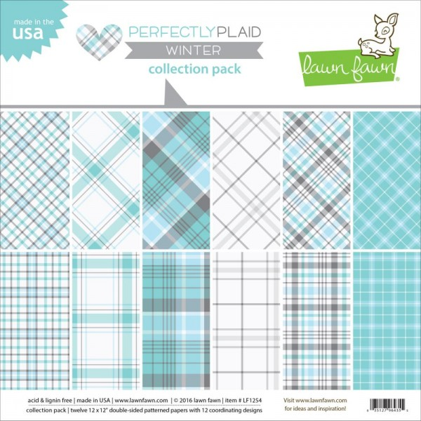 "Lawn Fawn Papier Block 12 "" x 12 "" Perfectly Plaid WINTER LF1254"
