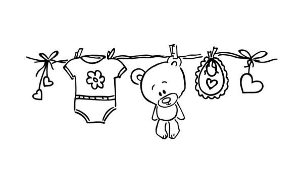 cArt-Us Stempel Wäscheleine mit Babybody,Teddy u.Lätzchen 1801202