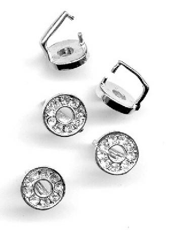 Anhänger silber mit Clip rund mit Strass 1 cm 12172-7206