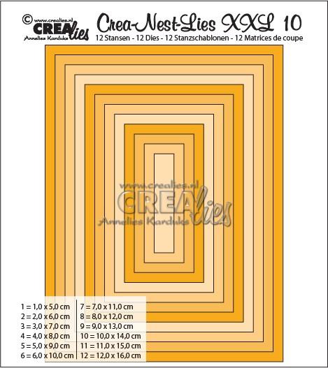 Crealies Stanzf.Crea-Nest-Lies Set Rechteck Nr.10 XXL / CLNestXXL10