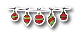 Poppystamps Stanzform Weihnachtskugel am Band/String of Ornaments 969