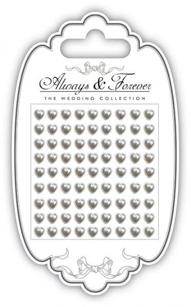 Craft Consortium Perlen selbstkl. Herzen creme / Always & Forever Adhesive Pearl Hearts AFAPRL003