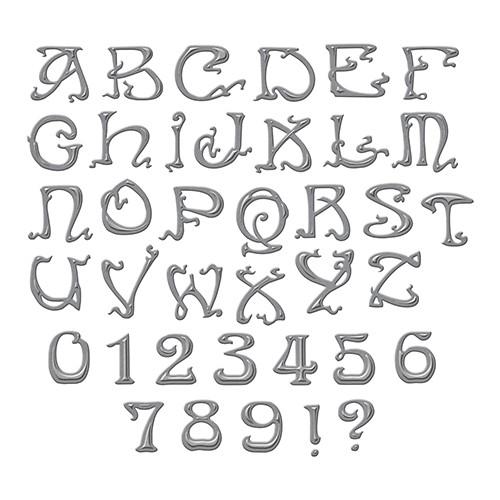 Spellbinders Stanzform Alphabet u. Zahlen Nouveau Font S6-101