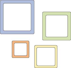 Cuttlebug Stanzform 4-er Set KLEIN Rahmen quadratisch runde Ecken / rounded square frames 37-1209