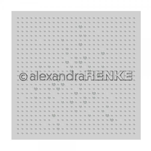Alexandra Renke Prägefolder / Embossingfolder 15,2 cm x 15,2 cm Herz-Raster EF-AR-MU0007