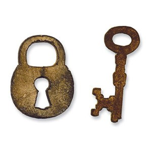 Sizzix Einsatz-Stanzform Movers & Shapers Mini Schloß & Schlüssel / Mini Lock & Key 657213