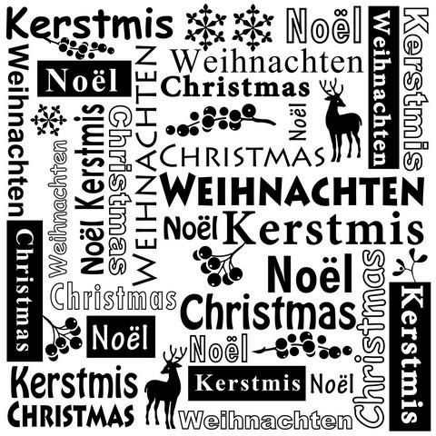 Nellies Prägefolder 15 cm x 15 cm ' Weihnachten ' in verschiedenen Sprachen MLTXT001