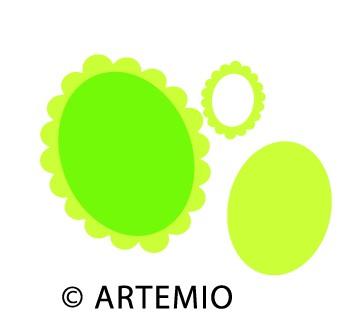 Artemio Happycut Stanzformen 6,8x6,8 cm + 4,2x4,2 cm Oval-Rahmen 1802201