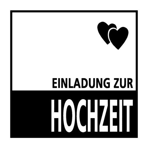 """Stempel """" Einladung zur Hochzeit """" Quadrat mit 2 Herzen 1825131"""
