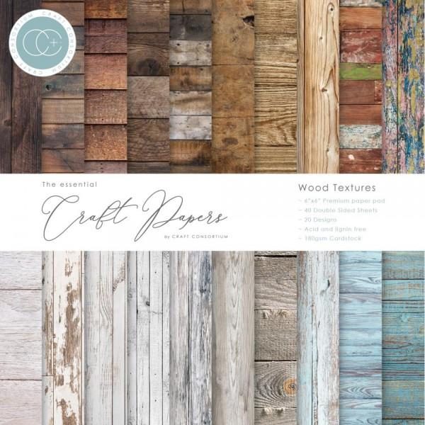 "Craft Consortium Scrapbook Papierblock Holzpapier / Wood Textures 6 "" x 6 "" CCEPAD001B"
