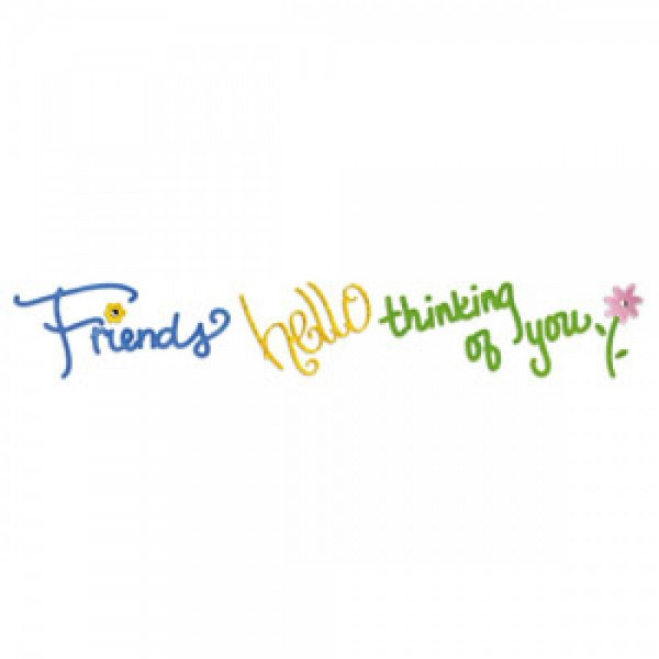 Sizzix Stanzform Sizzlits Border ' friends, Thinking of you, hello ' 654365