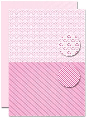 Nellie's Choice A 4 doppelseitiges Papier PINK BABY Herzen / Pink Baby Hearts NEVA082