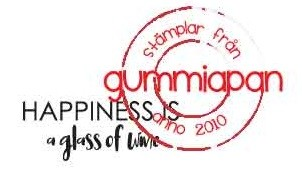 Gummiapan Stempelgummi # Happiness is a glass of wine ' 18110111