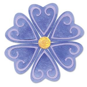 Sizzix Stanzform Sizzlits MEDIUM 1-er Blumen Herz / flower heart petals & center 655226
