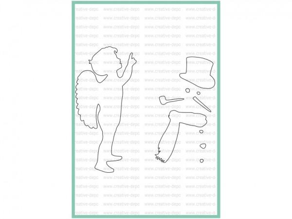 creative-depot Stencil Engel und Schneemann CD-SC-007