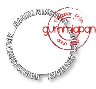 Gummiapan Stanzform Happy Birthday Kreis / Happy Birthday Cirkel D180841