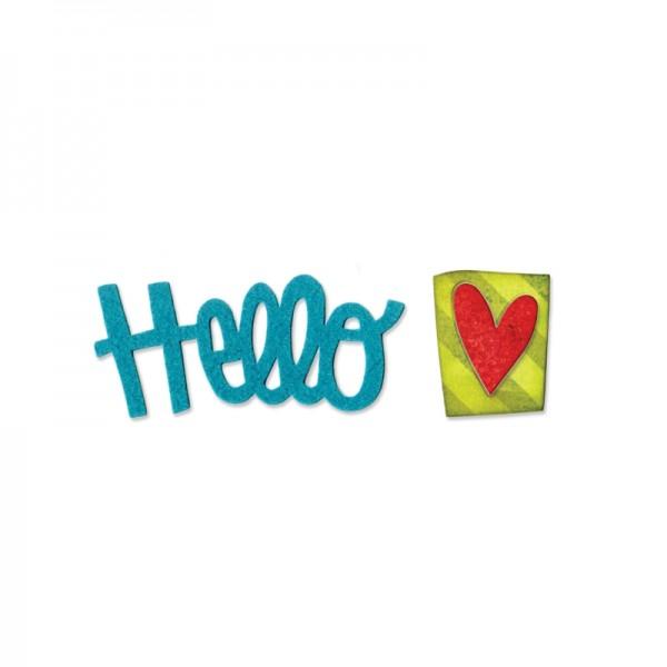 """Sizzix Stanzform Originals MEDIUM """"Hello"""" phrase # 2 mit Herz 659956"""