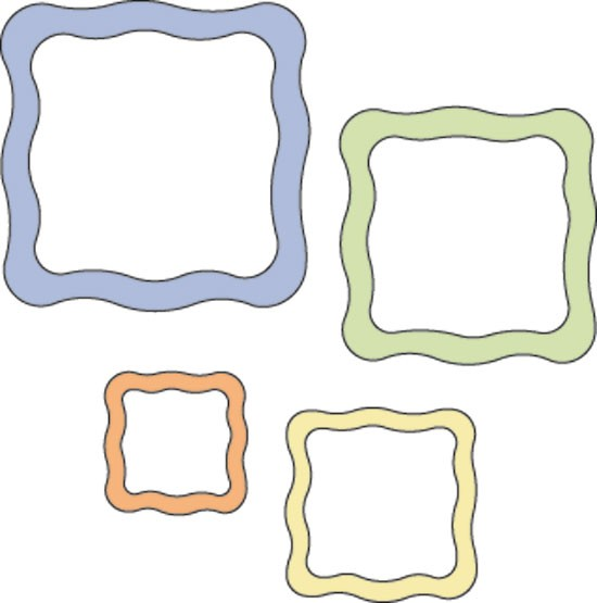 Rahmen gewellte Quadrate/wavy square frames 115639/6088 37-1210