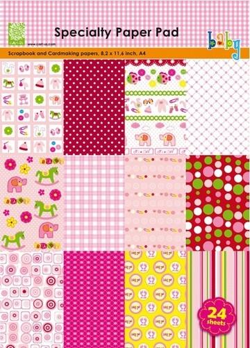 Cart-Us Paper Pad BABY GIRL A 4 980010/0002 ( rosa )