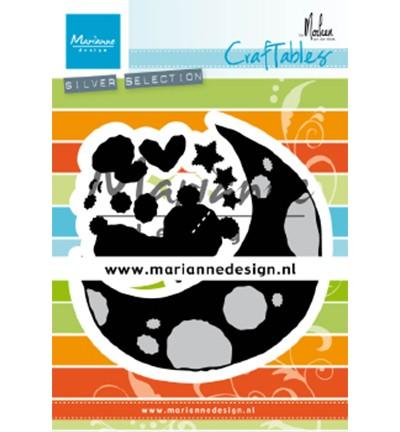 Marianne D Stanzform Craftables schlafender Bär auf Mond / Dreaming Bear CR1503