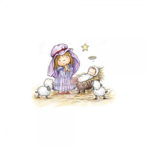 Wild Rose Studio Clear Stempel Mädchen mit Kind in der Krippe u. Schäfchen / Nativity Play WRSCL272