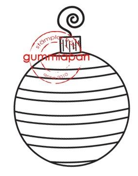 Gummiapan Stempelgummi Weihnachtskugel gestreift rund KLEIN / Liten randig julkula 14090508