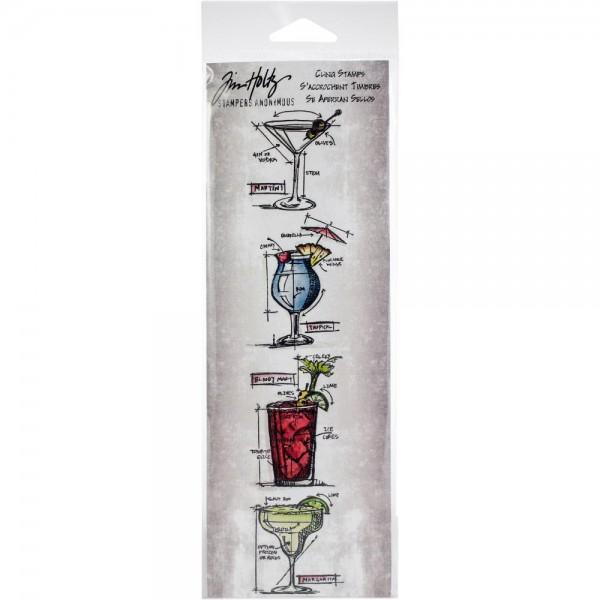 Tim Holtz Cling Stempel MINI Blueprints Cocktailgläser / Cocktails THMB030