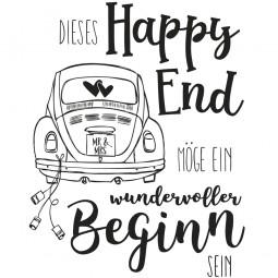 Rayher Holz-Stempel Hochzeitsauto ' Dieses Happy End MÖGE EIN wundervoller Beginn SEIN ' 29-121-000