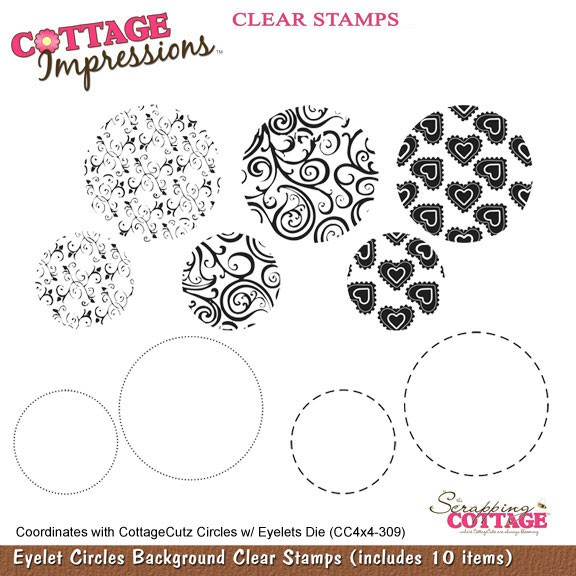 Cottage Cutz Clear Stamps Eyelet Circles Background SC CIC-001-