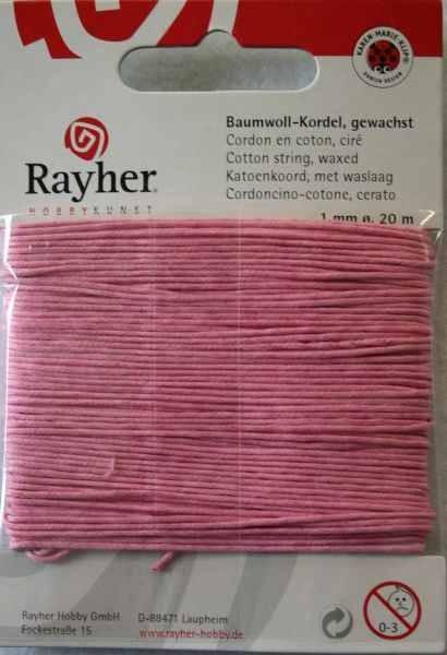 Baumwoll-Kordel gewachst 1 mm PINK 51-691-33
