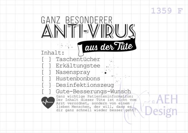 AEH Design Stempelgummi ' Ganz besonderer ANTI-VIRUS ' 1359 F
