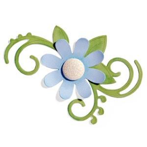 Sizzix Stanzform BIGZ Blume mit Blatt u Wirbel /Flourish , Floral w / LLeaves 656520