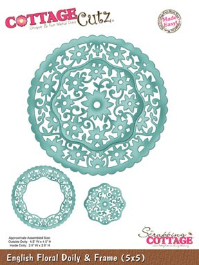 English Floral Doily & Frame SC-CC5x5-001