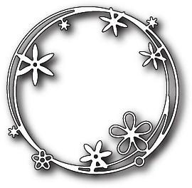 Poppystamps Stanzform Kranz mit Blumen / Scribble Flower Circle 1801