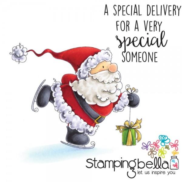Stampingbella Cling Stempel Nikolaus auf Schlitttschuhen / Santa's Speedy Delivery EB434