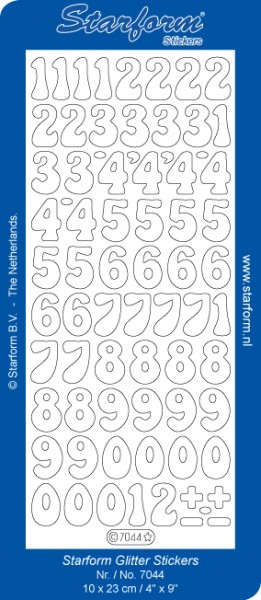 Starform Sticker Glitter - SILBER mit goldenem Rand Zahlen 7044Glitter silber-gold