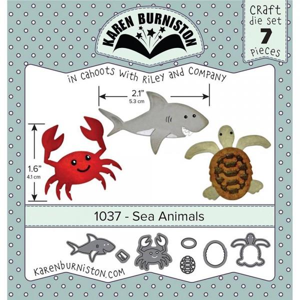 Karen Burniston Stanzform Krebs, Hai u. Schildkröte / Sea Animals 1037