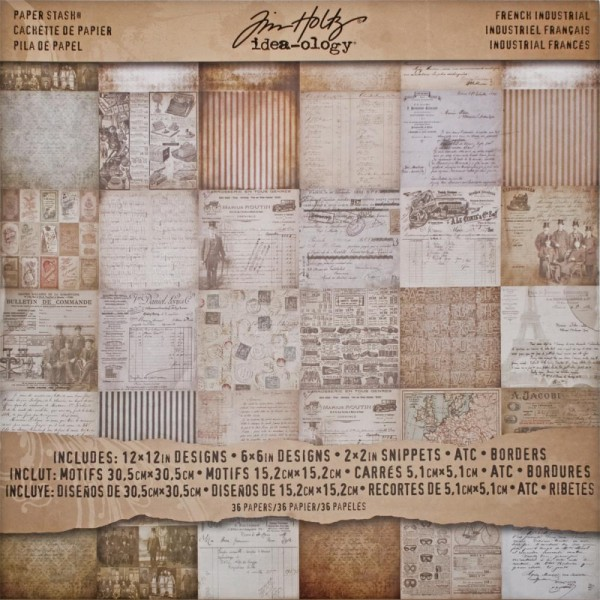 Idea-Ology Tim Holtz Paper Stash French Industrial Paper Sheets 30,5 cm x 30,5 cm TH93052