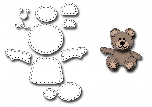 Frantic Stampers Stanzform Teddybär / Felt Teddy Bear FRA-DIE-10144