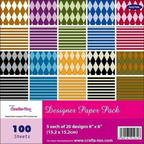 Designer Paper Pack HARLEQUIN 15,2 x 15,2 cm CTBC318