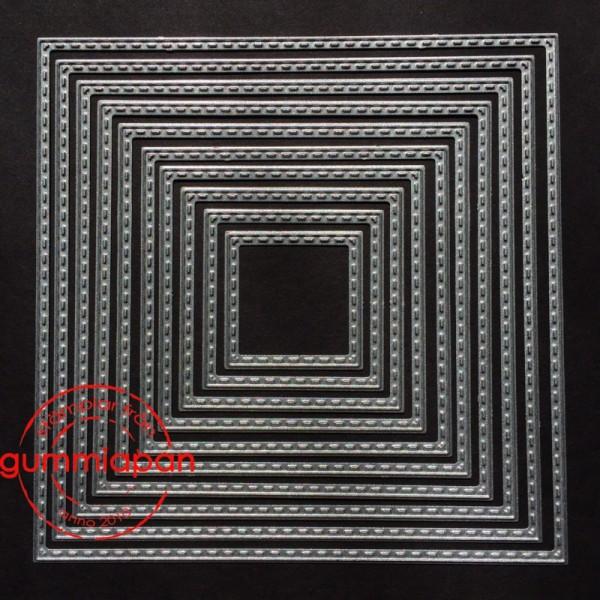 Gummiapan Stanzform Quadrat mit Nähnaht / Stitched Squares D160417