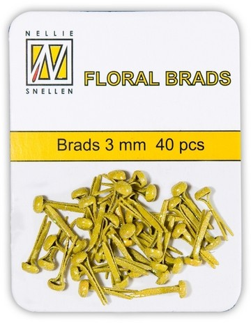 Floral Brads Mini Glitter GELB / YELLOW FLP-GB-009