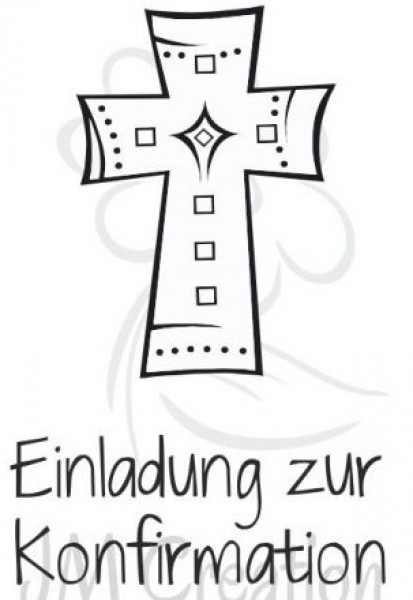 Jm Creation Stempel Einladung Zur Konfirmation   Kreuz 07 00054
