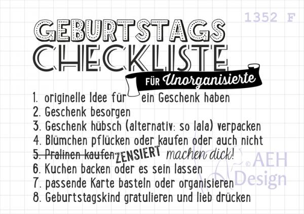 AEH Design Stempelgummi ' Geburtstags Checkliste ' 1352 F
