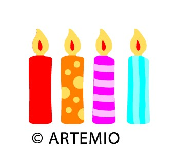 Artemio Happycut Stanzform 5,2 x 7,2 cm Kerzen / candle 18021005