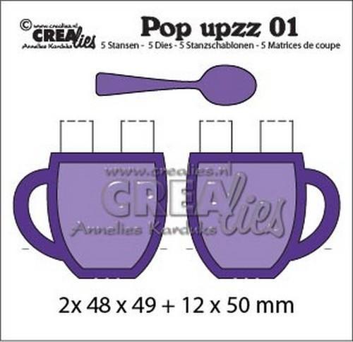 Crealies Stanzform Pop upzz 01 Becher / Tassen &. Löffel / Mug & Spoon CLPU01