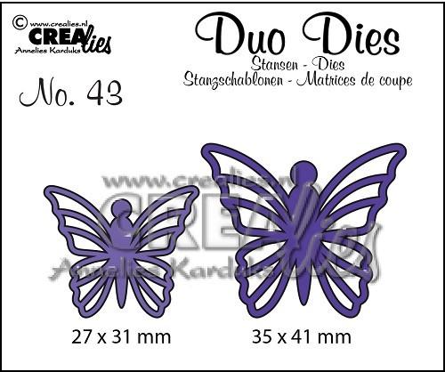 Crealies Duo Dies Stanzform Schmetterlinge Nr. 43 CLDD43